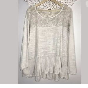 Free People off white patterned Oversized Size M